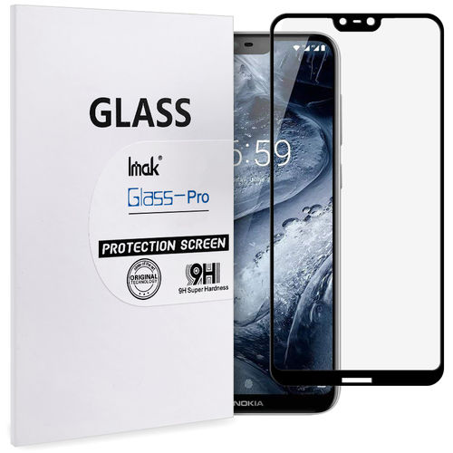 Full Coverage Tempered Glass Screen Protector - Nokia 6.1 Plus - Black